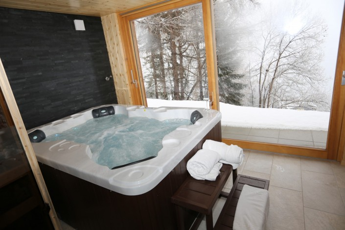 Dedicated spa room with sauna and jacuzzi and amazing views