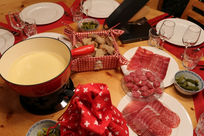 Restaurant quality fondue set available for guests' use