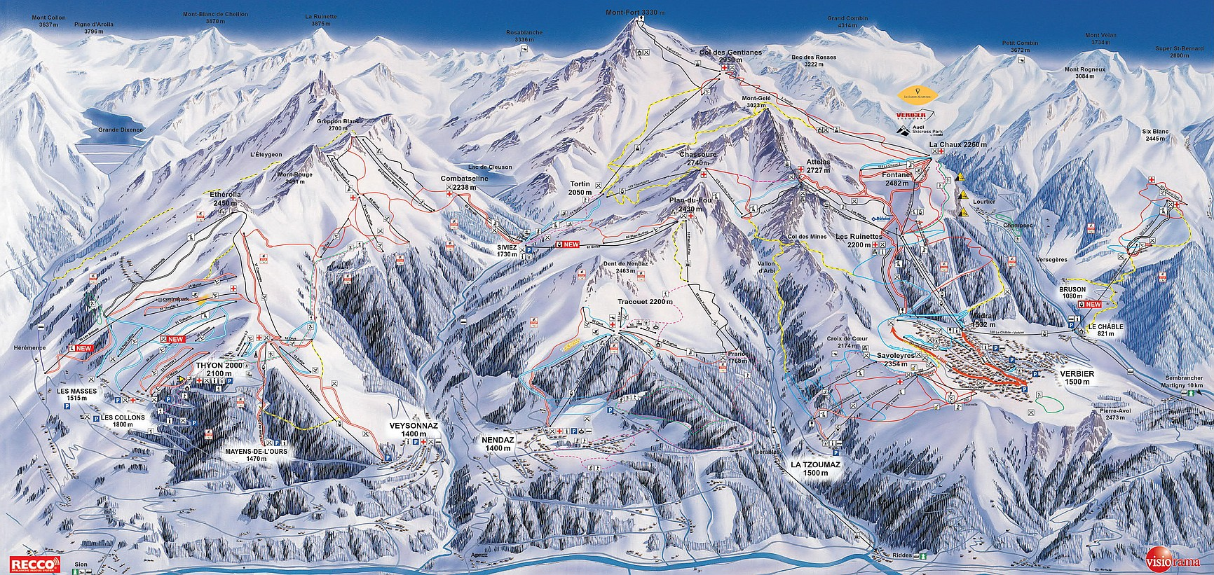 4 Valleys Ski Piste Map